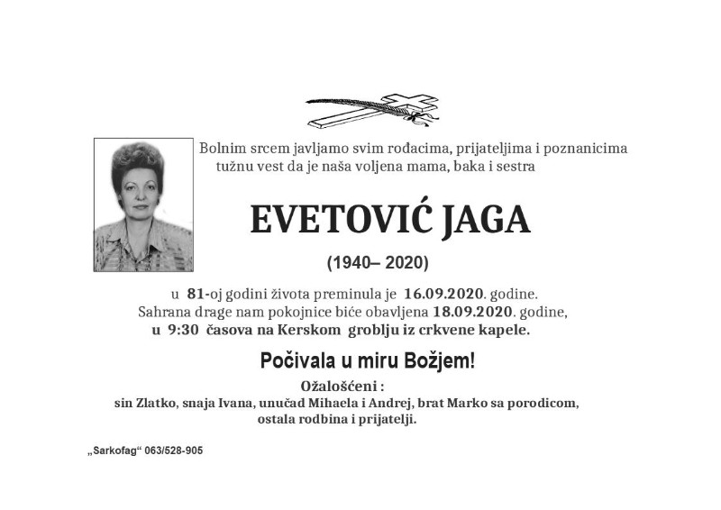 EVETOVIĆ JAGA 1.